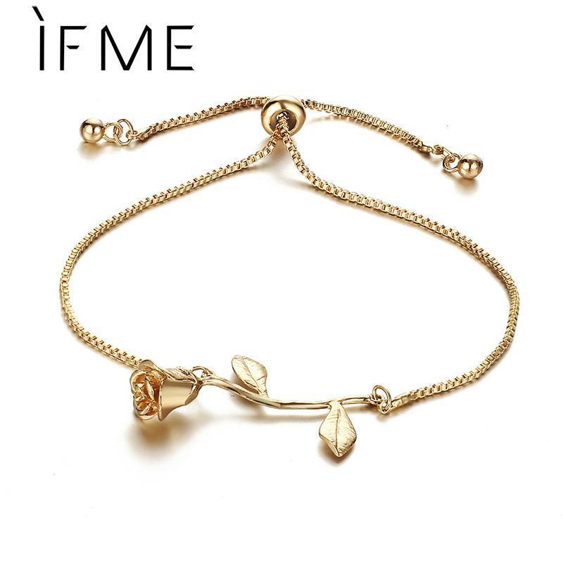 Если мне розовый золотой букет обаяние браслеты регулируемые серебряные цветные браслеты браслеты женщин свадебные украшения подарки