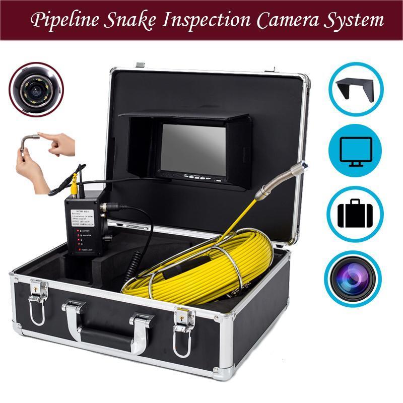 17 millimetri cavo 7inch Monitor Pipeline di controllo del serpente sistema della macchina fotografica 20-50m funzione della fogna macchina fotografica di controllo DVR con 8GB