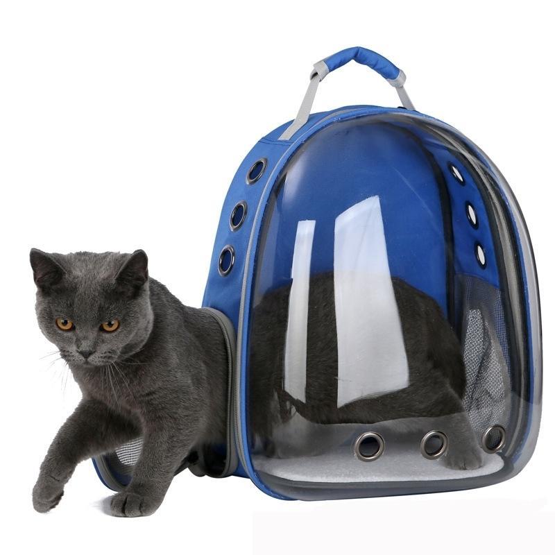 2019 جميلة تنفس المحمولة الحيوانات الأليفة حقيبة الحاملة في الهواء الطلق السفر جرو القط حقيبة شفافة مساحة لحيوانات الأليفة كبسولة LJ201201