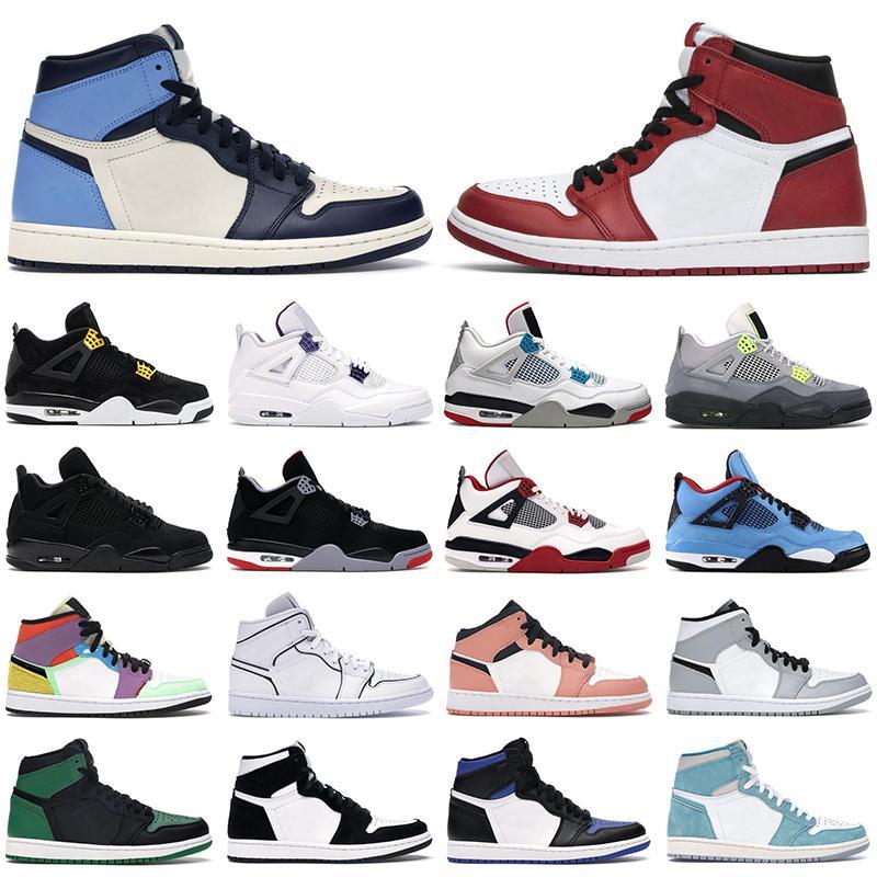 air jordan 1 retro 4 basketball shoes Chaussures de basket-ball 1s haute OG hommes femmes jumpman mi Chicago Obsidian Twist 4s Fire Red Bred Black Cat baskets pour hommes