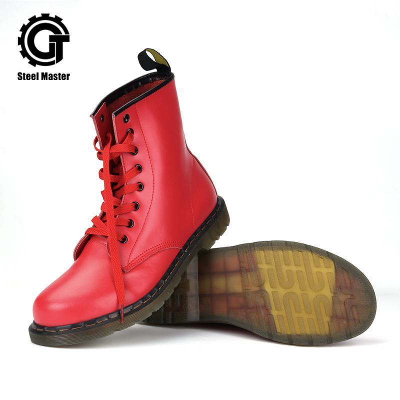 New Fashion Red Boots Frauen Schuhe Boots Mid Kalbsleder-echtes Leder-Motorrad-Schuhe Schuh-draußen
