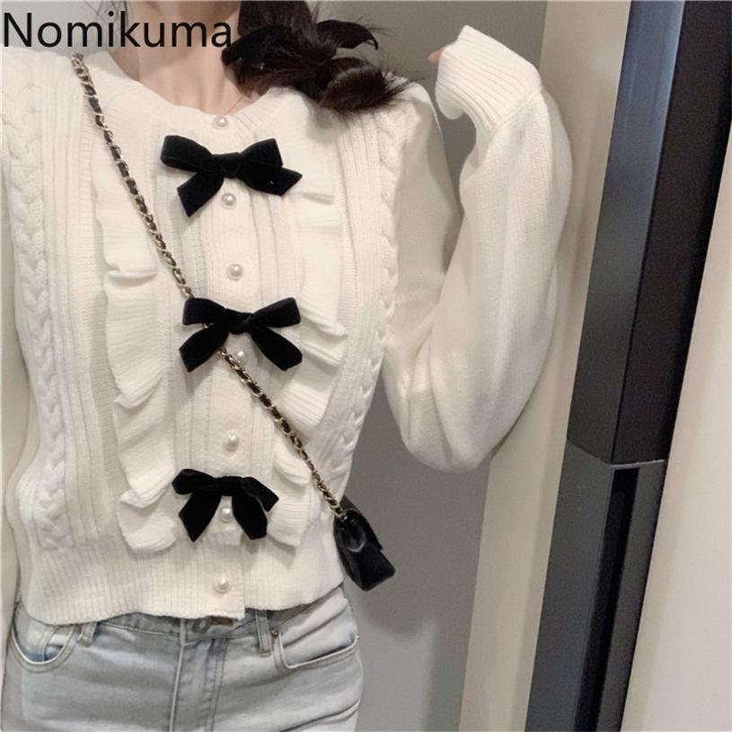 Nomikuma coreano dolce ruffle bowknot maglione giacca autunno inverno inverno corto cappotto a maglia manica lunga donna sottile maglieria 6C782 201223