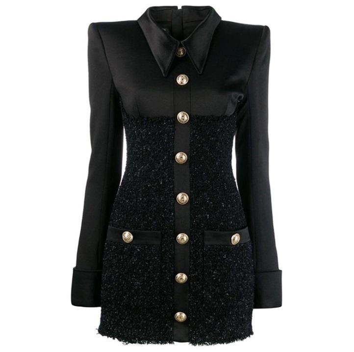 Premium New Style Top Quality Original Design Frauen Satin Kleid Helle Seide Woolen Slim Pack Hüfte Kleid Täfelendes Kleid