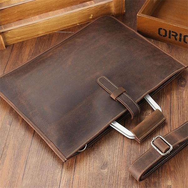 Zipper Briefcase Genuine Messenger Office Bags For Men Crazy Horse Leather Laptop Bag 13 Inch Maletines Hombre Q1104