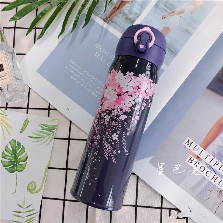 Starbucks Night Sakura 스테인레스 스틸 진공 컵 보라색 벚꽃 텀블러 커피 컵 550ml 컵 무료 배송