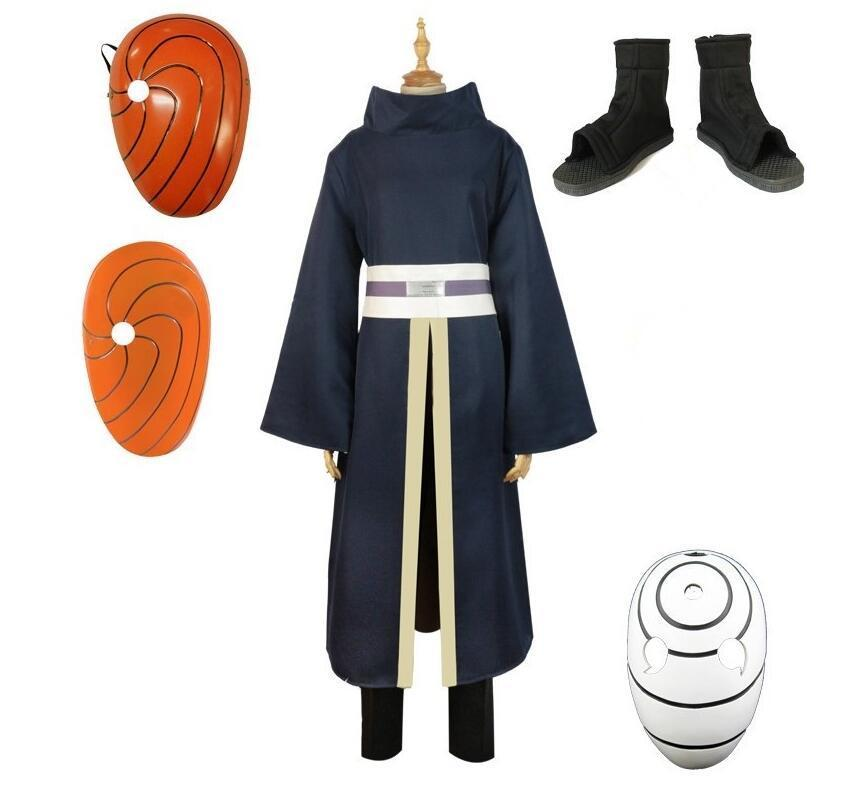 High Quality Naruto Costumes Uchiha Obito Cosplay Long Sleeves Black Cloak and Mask