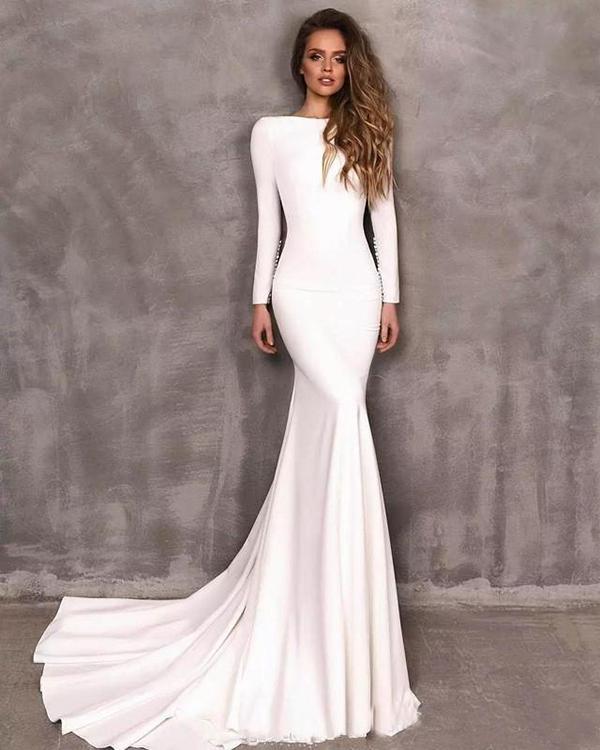 2020 Vintage Berta Mermaid Brautkleider Stretch Satin Langarm Backless Brautkleider Vestidos de Novia Hochzeitskleid Custom Made