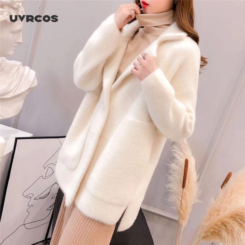 Faux de pele feminina uvrcos 2021 outono e inverno casaco de mangas compridas solto fácil correspondência grosso Cardigan moda cor sólida