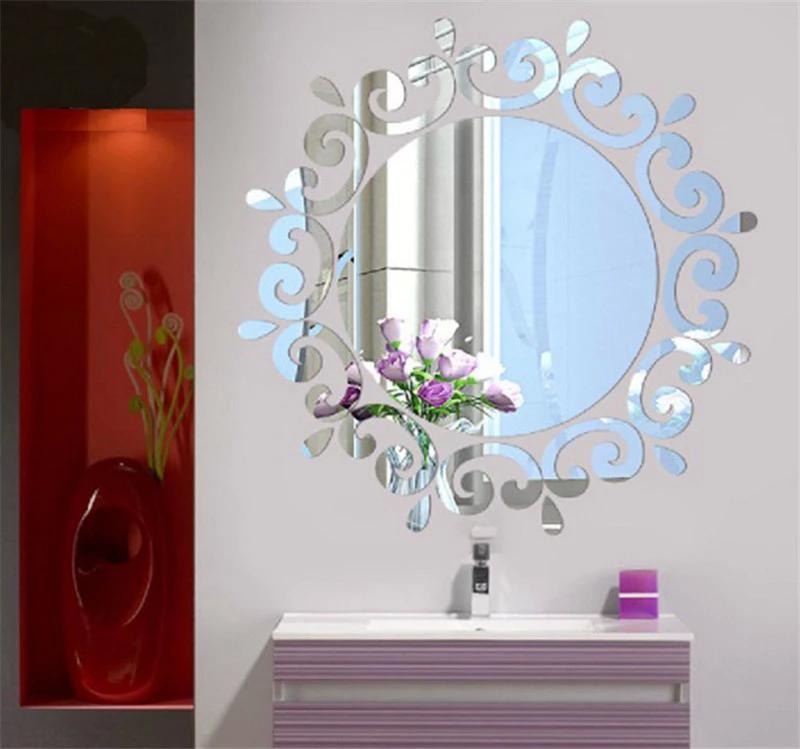 ملصقات الحائط فاخر 3D مرآة زهرة DIY جدار ديكور DIY الاكريليك الذهب الفضة الديكور المنزلي خلفيات القابل للإزالة ملصق 3D للمنزل كن