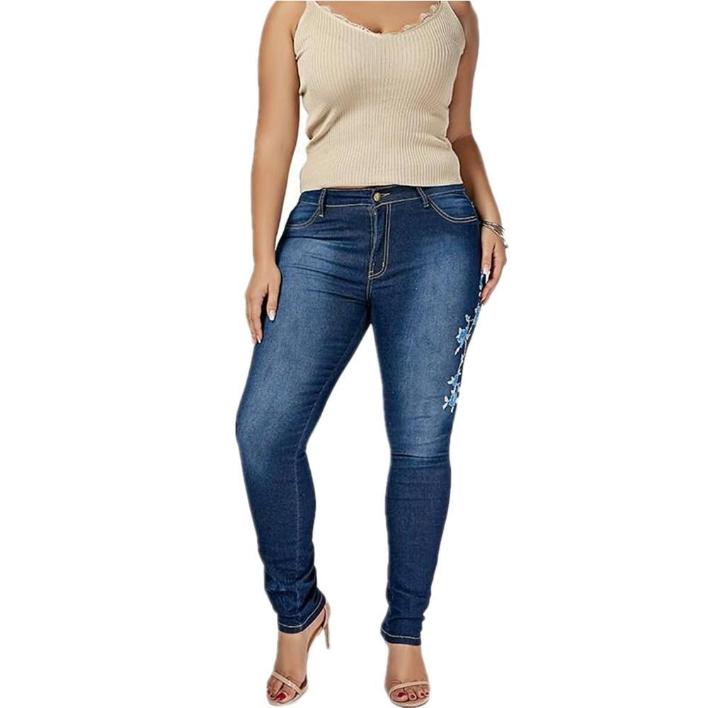 Plus-Sized Mode Ripped Stretch gestickte Jeanshosen