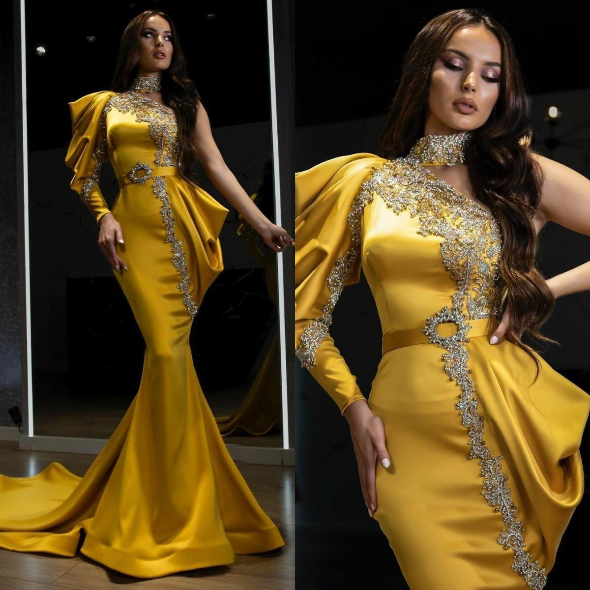 Elegant Satin Mermaid Evening Dresses Lace Beaded High Neck Long Sleeve Prom Dress Women Red Carpet Celebrity Gowns