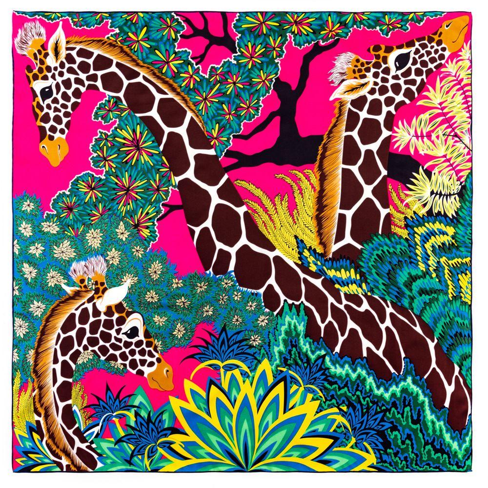 Foulard de soie écharpe top femmes foulards en satin double face girafe animal millésible encadrement encombronner le châle