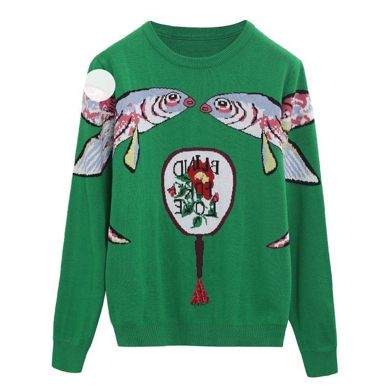 2020 Зеленые Вязаные свитеры Пуловеры Женщины Взлетно-посадочная полоса Дизайнер Двойная Рыба Женский Женский Рождественский Джим Осень Зимняя Одежда