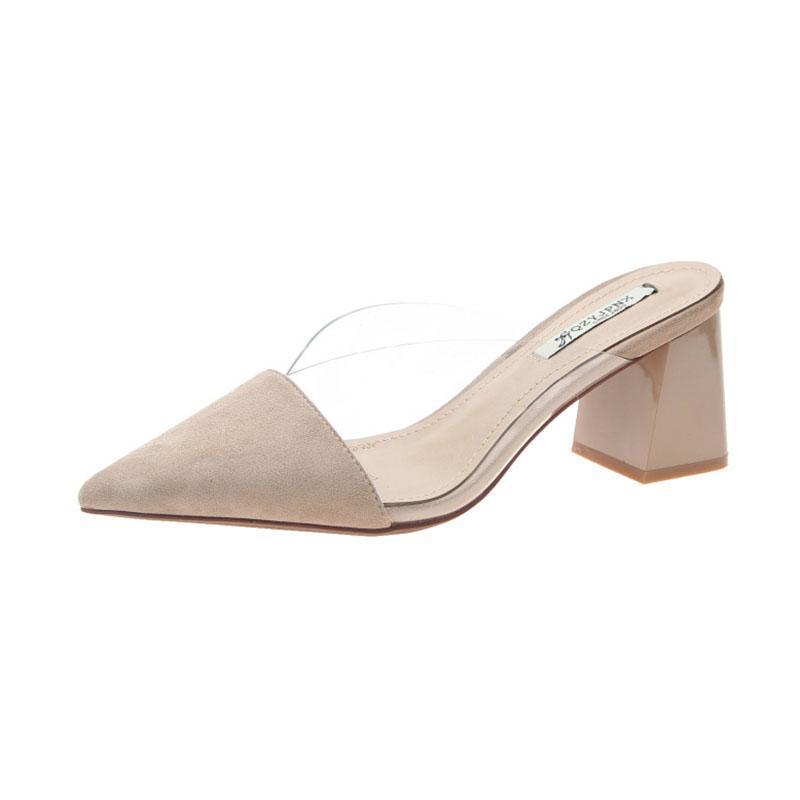 Sapatos de vestido Cozulma Mulheres Clear PVC TransparentPumps Heof Sandális Sandálias do Verão Feminino Slip-on Pointed Toe Bombas de Festa Tamanho 34-40