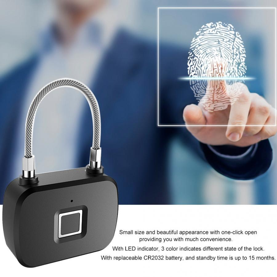 Portable Fingerprint Lock Smart Padlock Security Anti-Theft Keyless LED Padlocks for Travel Suitcase Backpacks Electronic Locks