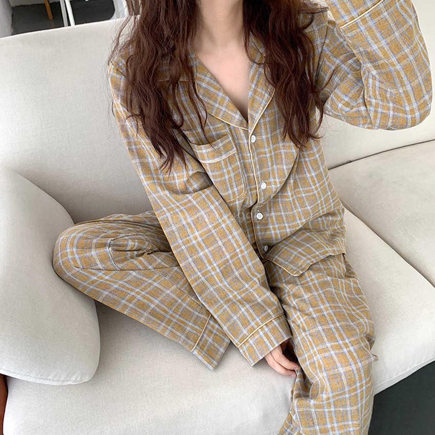 Çift Moda Yaka Kadın Pijama Baskı Klasik Homeweak Pijama Uzun Kollu Pijama Pijama İki Adet Set Kadın