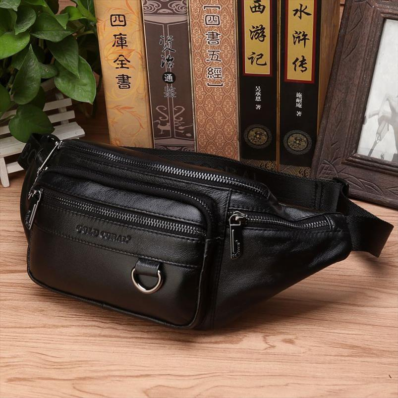 High Quality Real Cowhide Hip Fanny Belt Pack Pouch Single Shoulder Cross Body Bags Men Genuine Leather Bum Waist Chest Bags