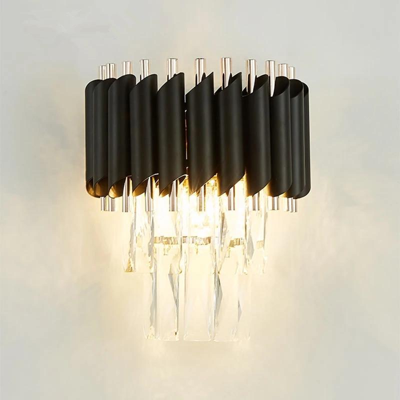 Black LED Lâmpada de Parede de Cristal Quarto Aisle Luzes Hotel Decoração Iluminação Luminária Luminária E14wall Sconce