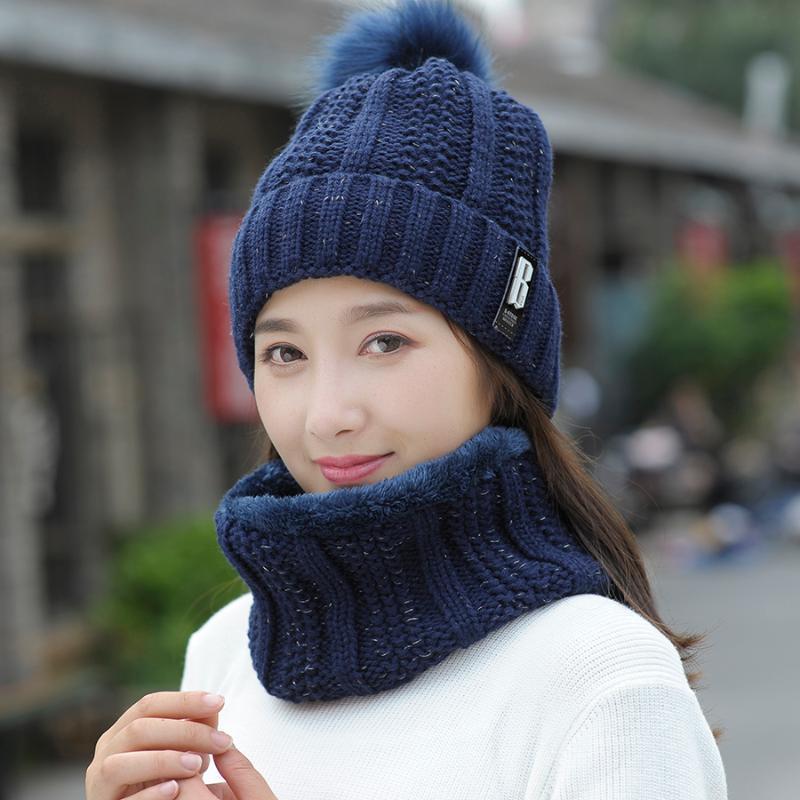 2020 Casquettes Chapeau d'hiver femmes tricotée laine chaude écharpe épais coupe-vent Balaclava multifonctionnelles Chapeau Écharpe Ensemble pour les femmes