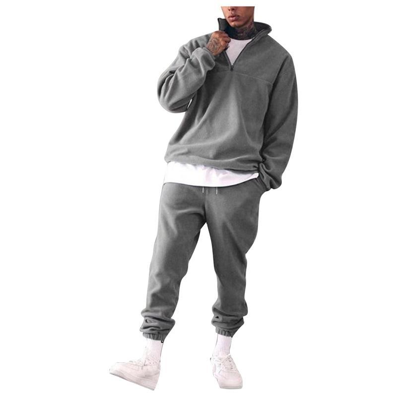 Gym Clothing 2pcs Men's Fashion Sports Suit Leisure Solid Color Standing Collar Running Casual Home Athletic Tracksuit #4