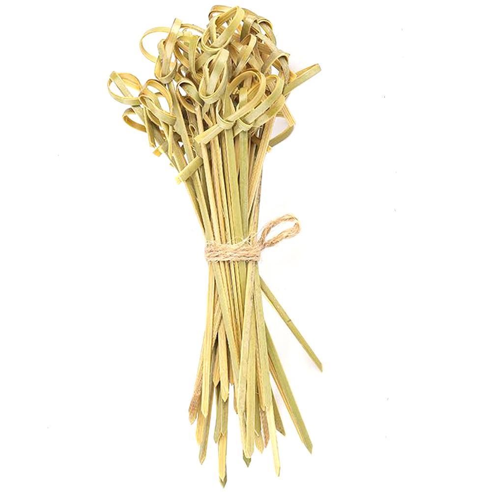 Pinchos cenar nudo de bambú Accesorios de cocina Palo hecho a mano respetuoso del medio ambiente vajilla Frutas del hogar Restaura