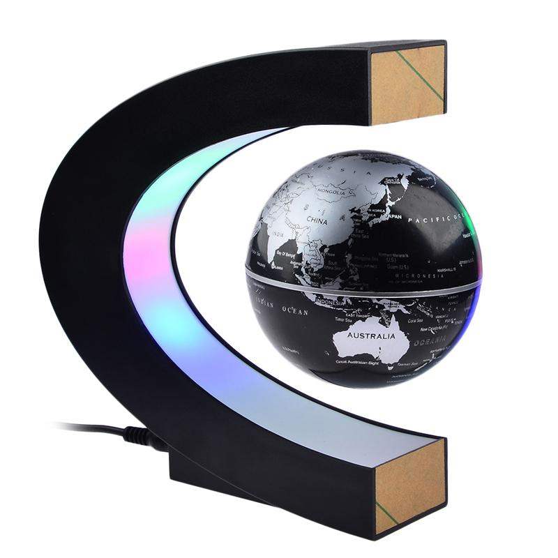 LED Lévitations magnétiques électroniques Globe Floating Globe Carte Anti-Gravity LED Night Light Maison Décoration Novelty Anniversaire Cadeau d'anniversaire