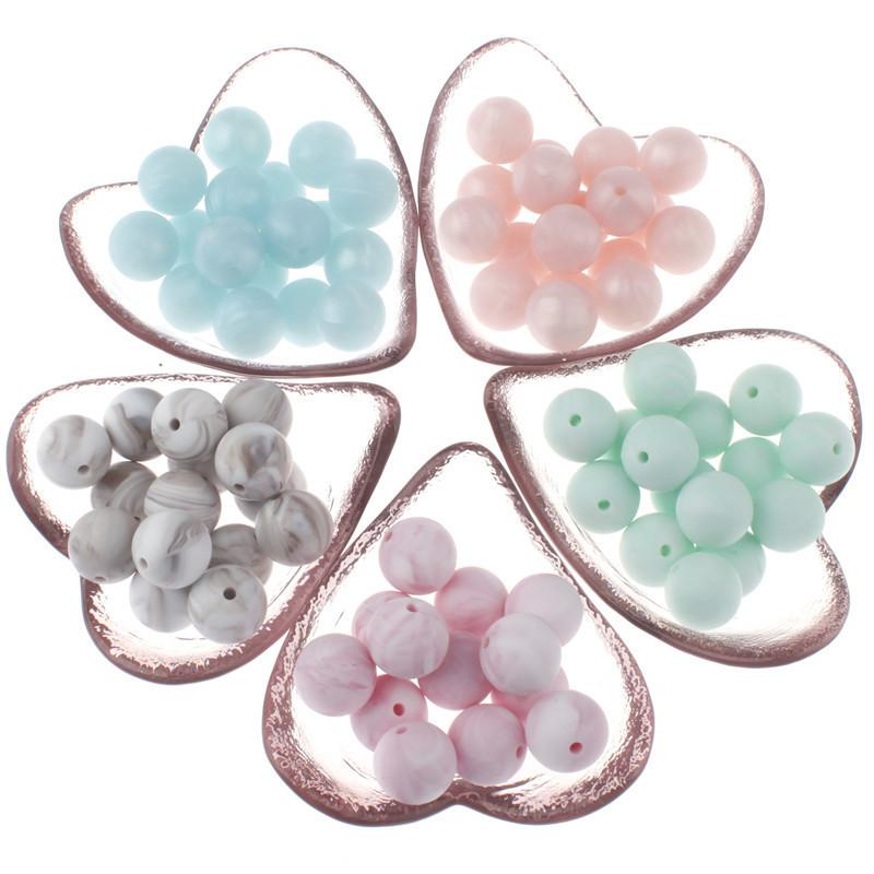 100pc Baby Silicone Metallic Marble Teether Round Beads Bpa Free Teething Jewelry Making Infant Pacifier Chain Charm Shower Gift 201123
