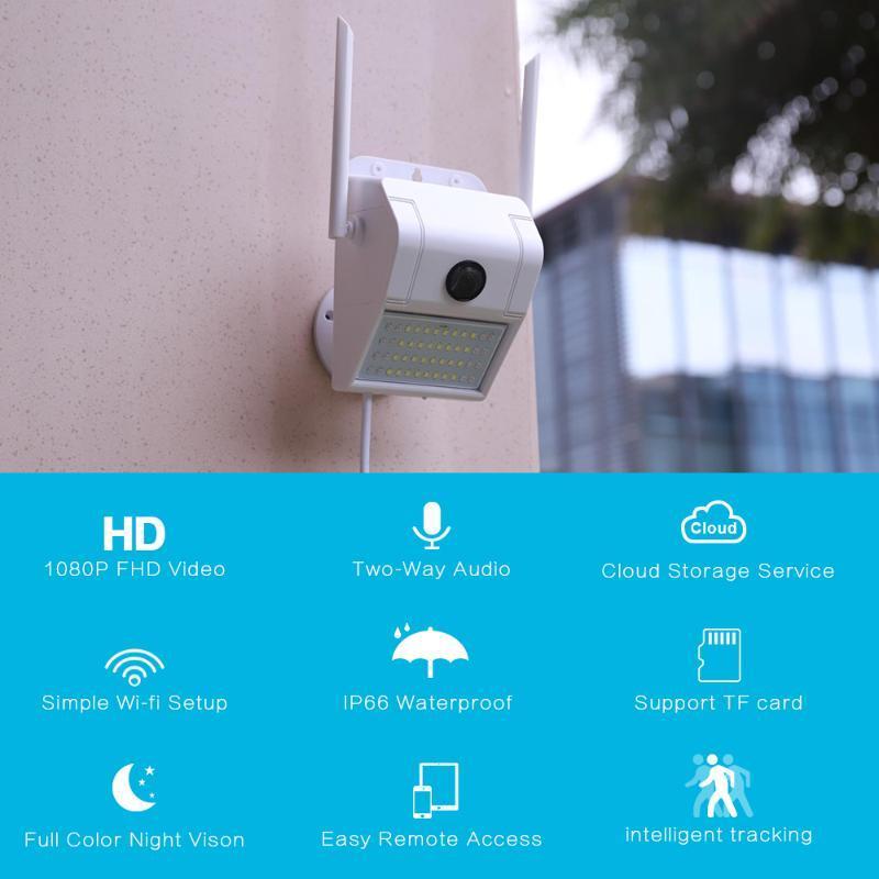 1080P extérieur WiFi Caméra IP sans fil 48 LED Audio Vidéo IR IP66 étanche jardin CCTV Sécurité Surveillance Cour