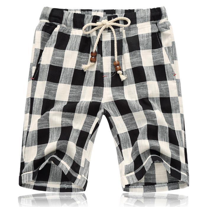 Yaz Erkek Casual Şort Pamuk Ekose Plaj Şort Erkekler Moda Kısa Erkek Spor Soğuk Marka Giyim 5XL SA664