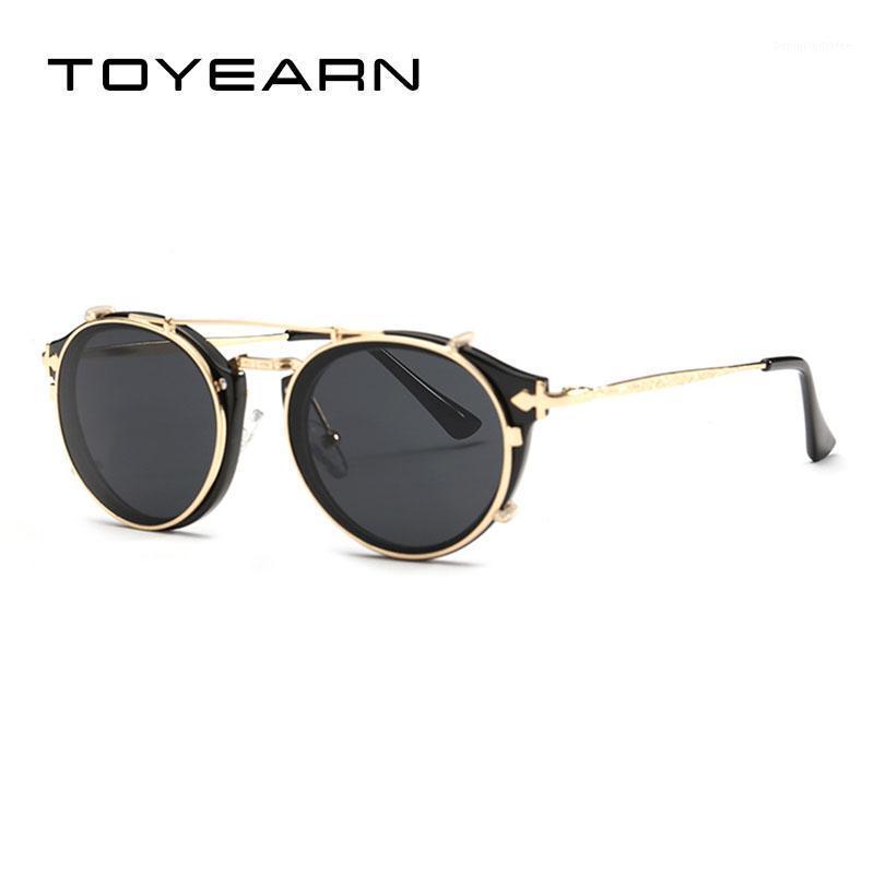 New Designer Cat Eye Sunglasses Women Vintage Steampunk Mirror Shades Rivet Flip Up Sun Glasses For Women UV4001