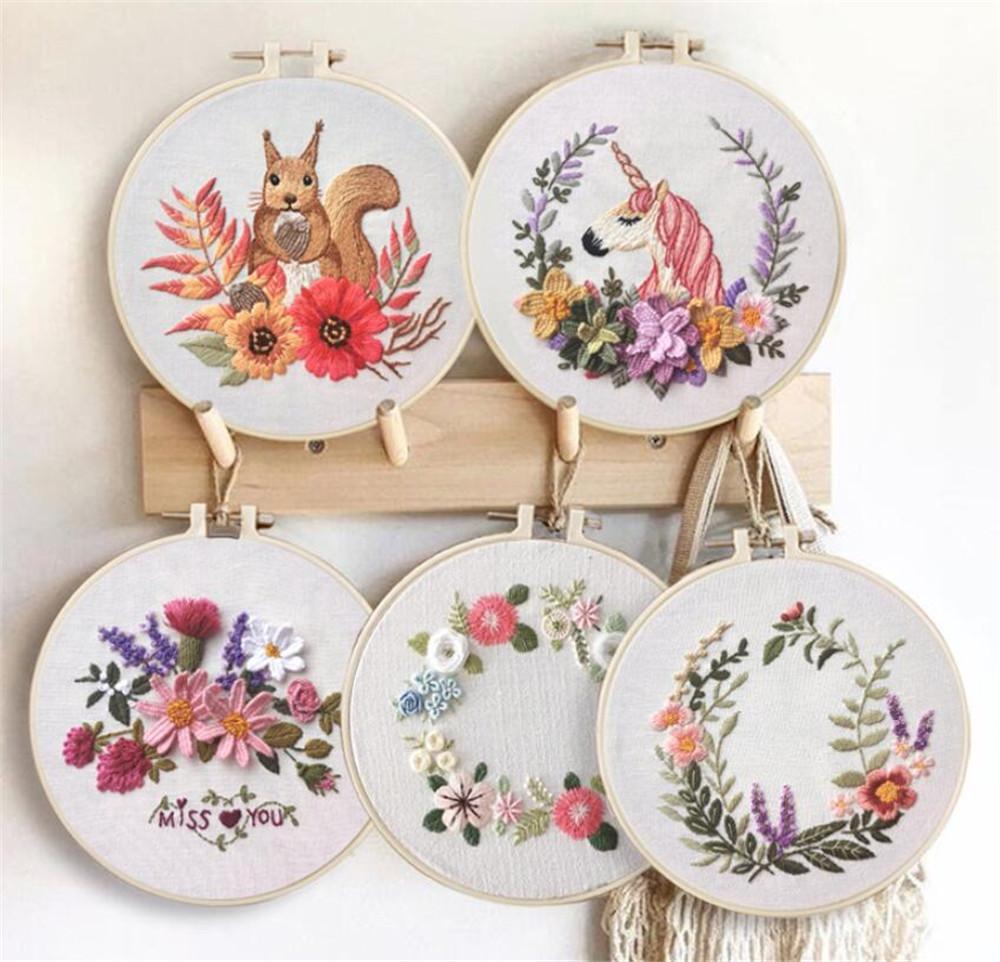 tiempo de muertes nueva Artes Círculo bordado Kit de costura bordado de punto de cruz Juegos de bordado para el principiante DIY arte de coser Craft