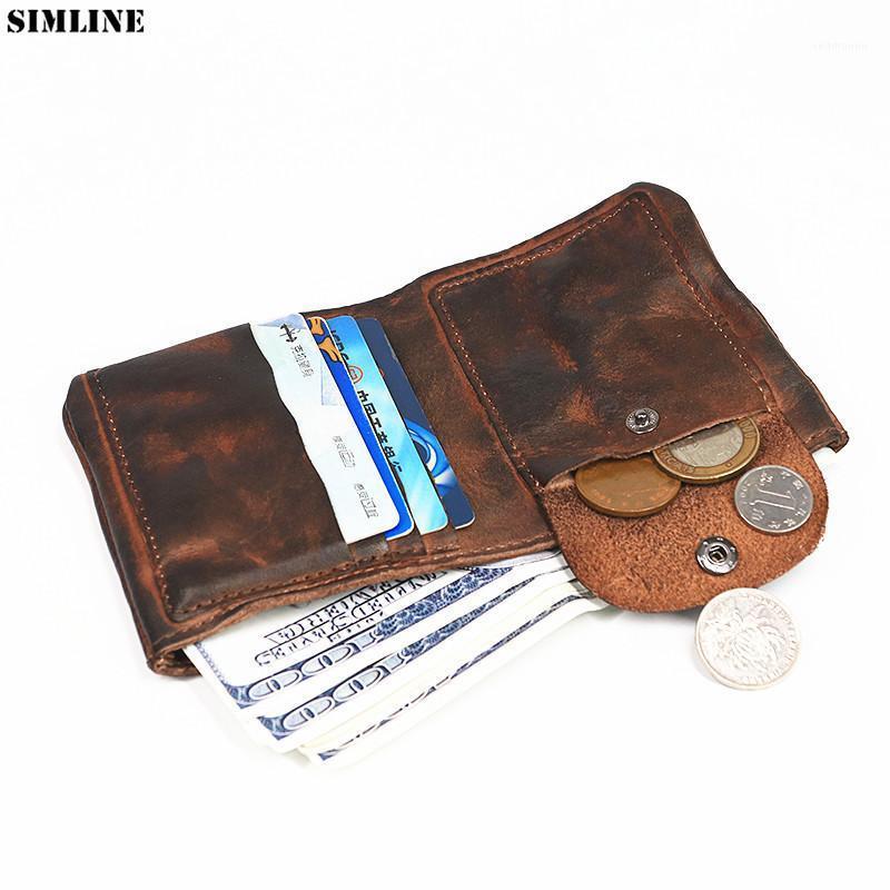 Подлинная кожаный кошелек мужские винтажные ручной работы короткие маленькие мини-кошельки кошелек с держателем карты деньги сумка монеты карманный мужской carteira1
