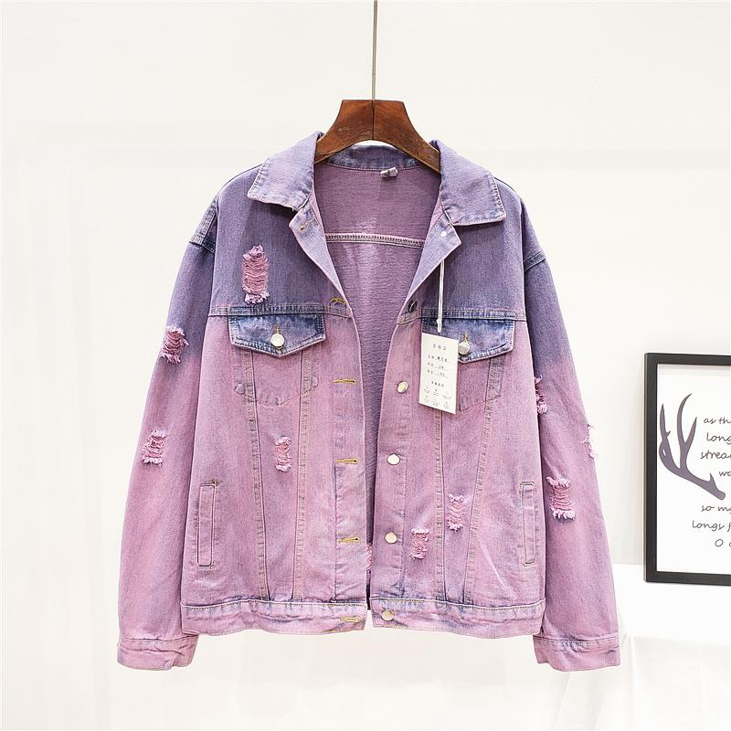 Moda Hit Cor Buracos Denim Jacket Outerwear Mulheres Harajuku soltas Longo manga curta jeans lavados Jacket Brasão Streetwear Feminino 200930