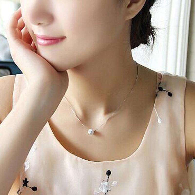 Zircon brillante Invisible Transparente Línea delgada Collar de gargantilla Mujer Joyería Colana Kolye Bijoux Collares Collier Femme