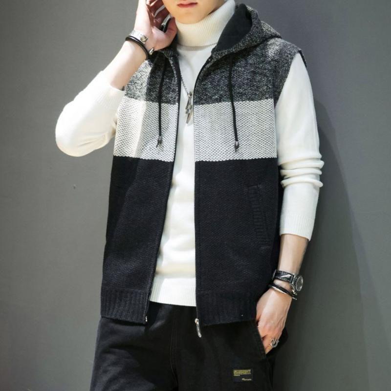 Men's Vests 2021 Autumn Knitted Plus Velvet Vest Sleeveless Hooded Sweater Casual Clothing