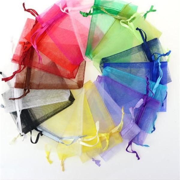 7 * 9см ювелирные изделия Сумки MIXED органза ювелирные изделия свадьбы пользу Xmas подарочные пакеты Фиолетовый Синий Розовый Желтый Черный с Drawstring GB1505. ,