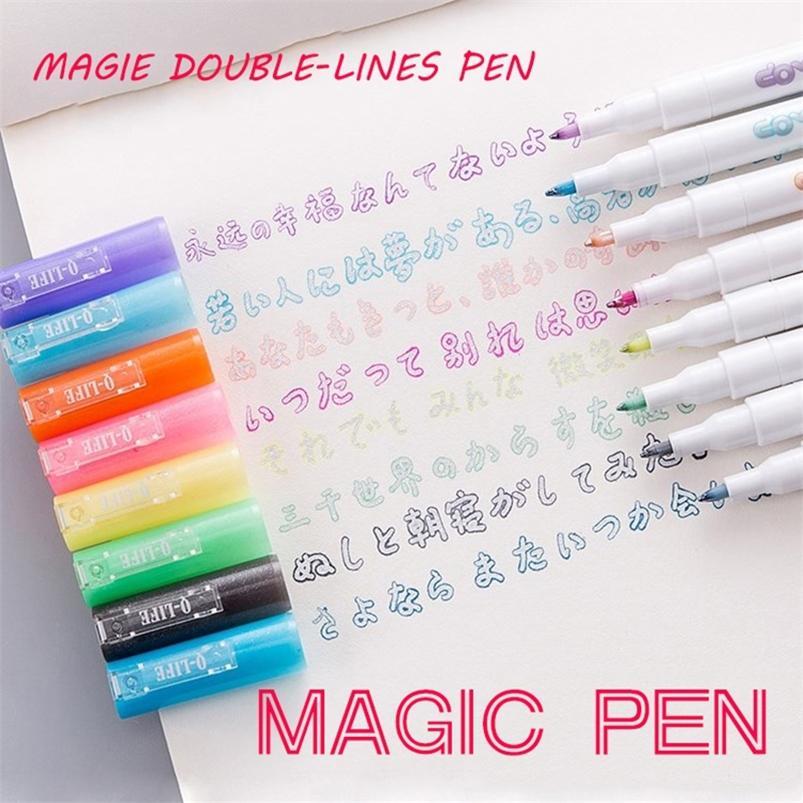 AndStal Double Lines Art Markers Out Line Scrapbooking Pens Fine Liner Marker Fineliner CalliGraphy Letras Pen Color 201222