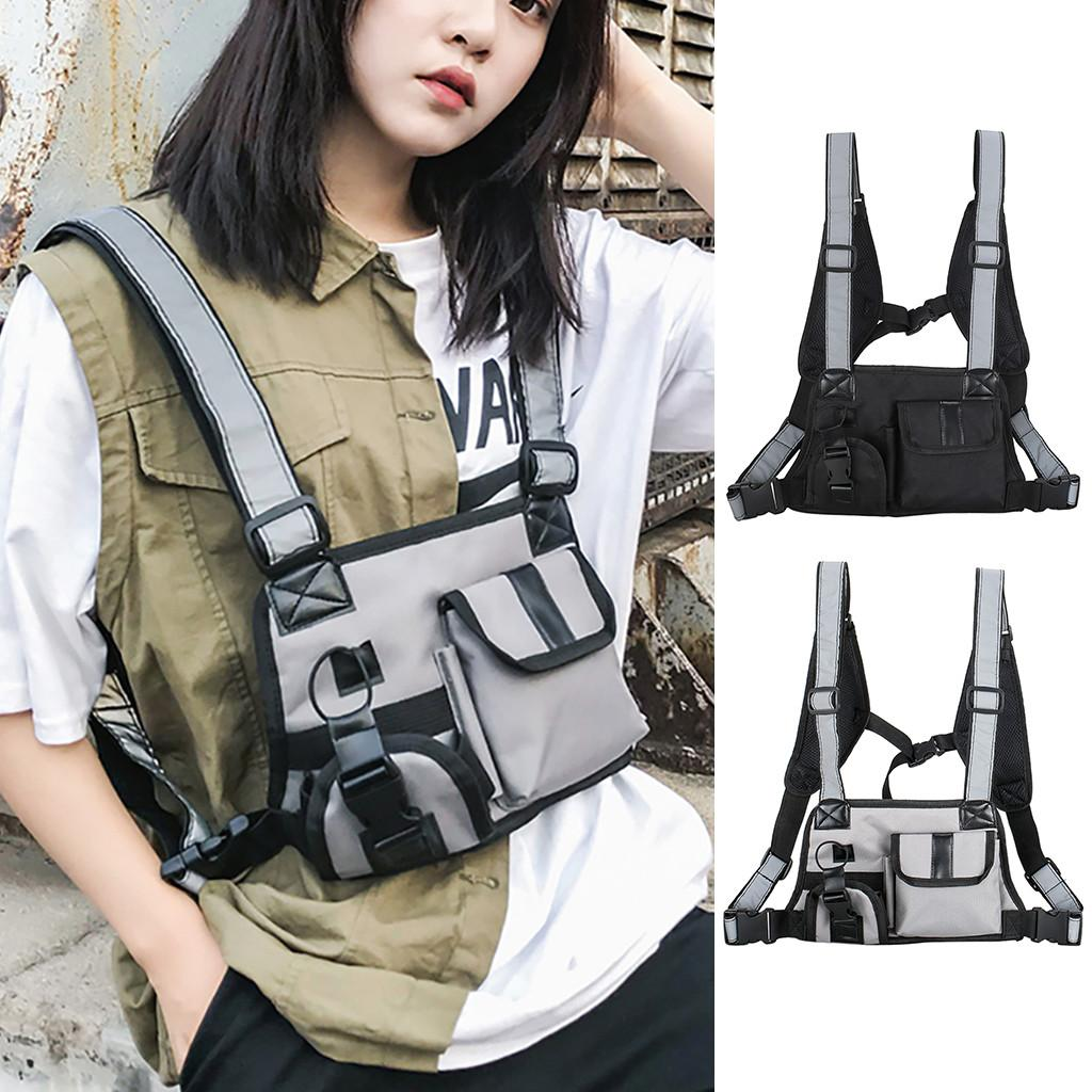 Fashion Black Tactical Bag Unisex Multi-function Function Chest Bag Strap Vest Bag Backpack