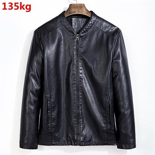Autumn thin plussize 7XL fashion 8XL casual baseball collar men's jacket leather C1103
