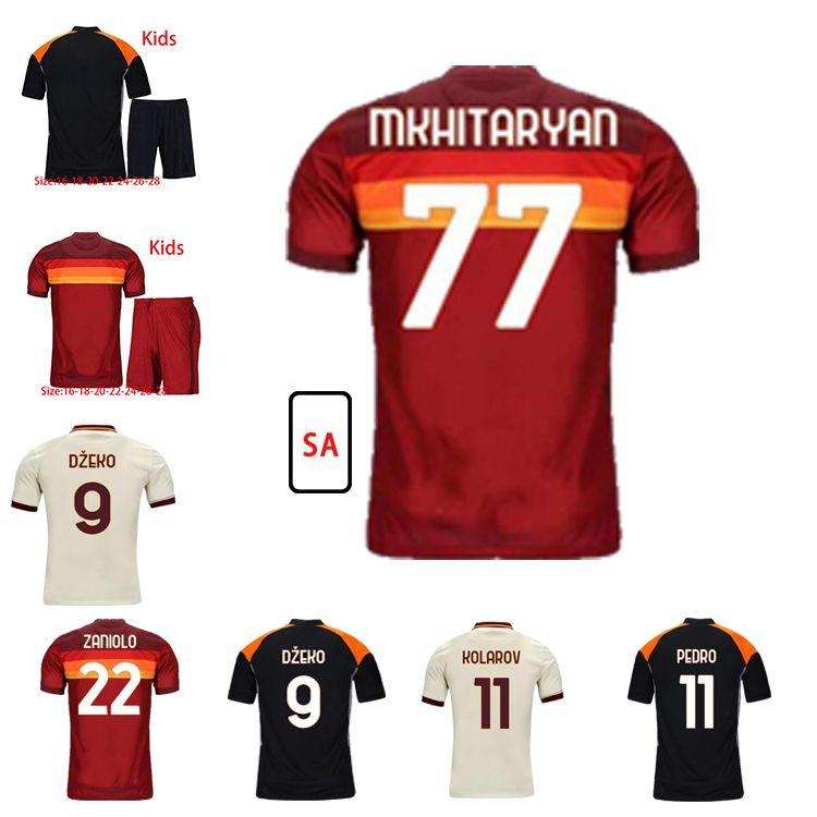 Personalizado de Rossi Dzeko Futebol Jerseys Zaniolo Totti Perotti Pastore Kolarov Florenzi Pedro 20 21 Camisa de Futebol Homens Kit kit uniformes