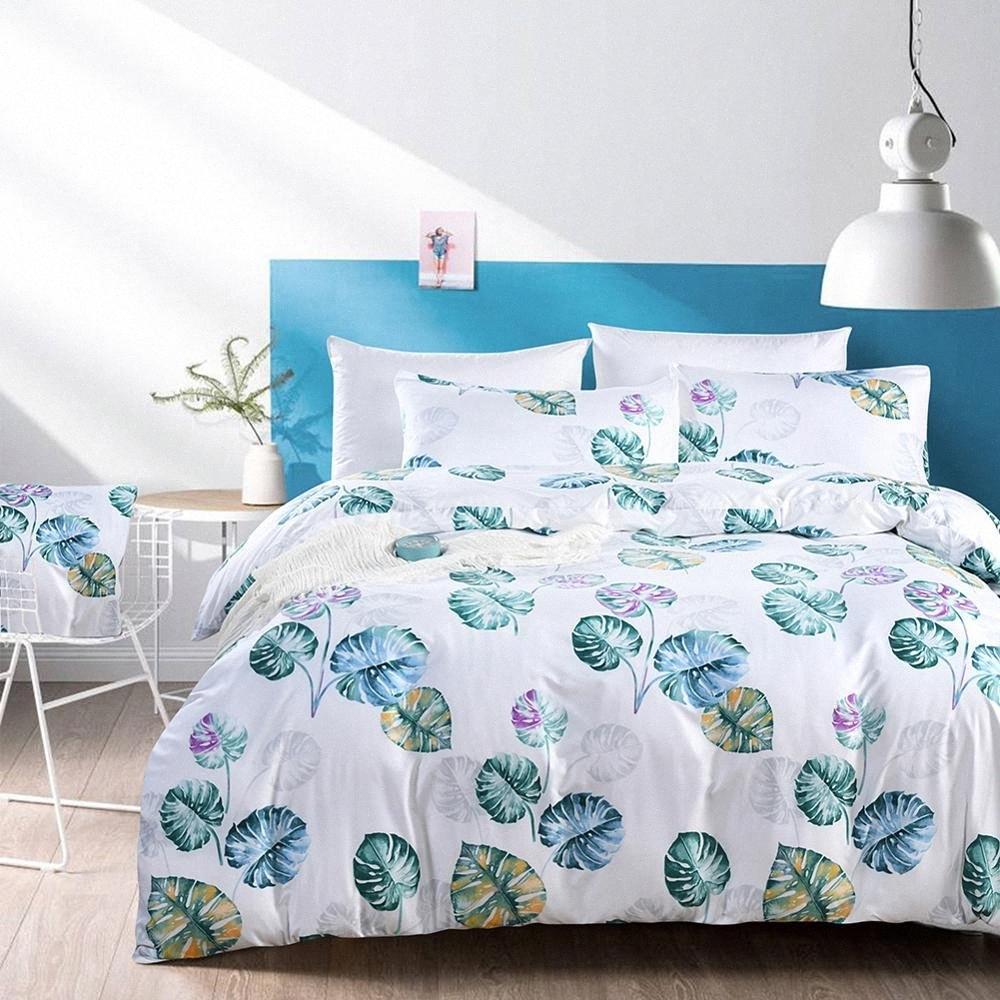 Bettbezug + 2pcs Kissen- Bettbezug setzt Twin Queen-King-Size Home Deckbetbettwäsche Satz Bett gesetzt Bettwäsche n6EI # 1pcs ins Stil
