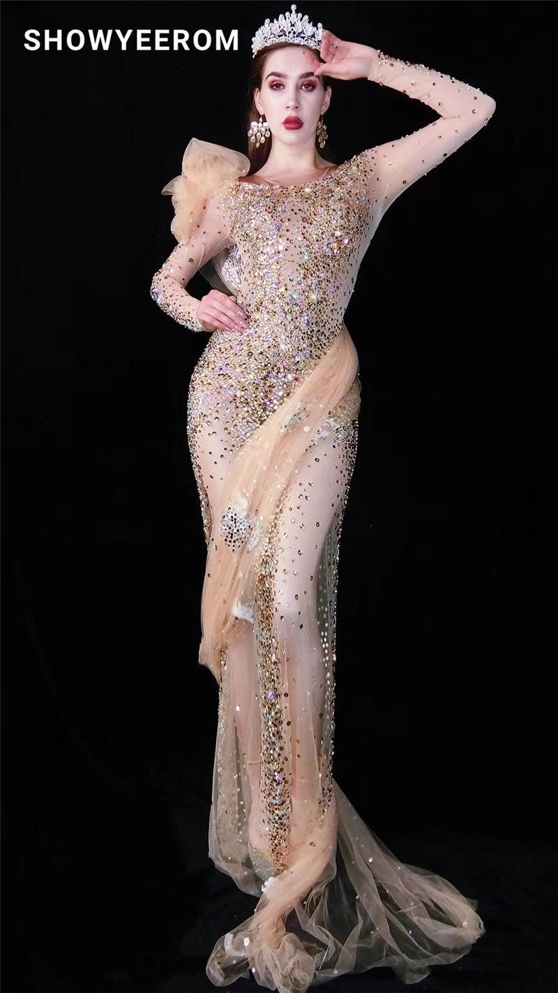 Kadın Düğün Çok Renkli Rhinestones Şeffaf Uzun Elbise Doğum Günü Kıyafet Örgü Şarkıcı Dans Bar Elbiseler