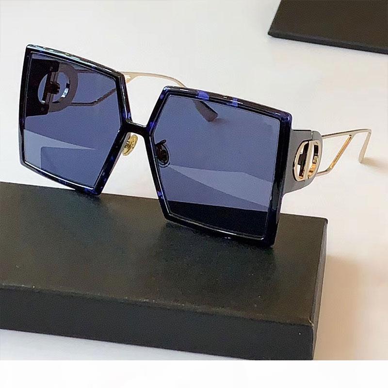 Top Quality 2020 officiel Dernières couleurs Lunettes de soleil carrées de la couleur design Lunettes de soleil de concepteur Noir Bleu Overdim Overdim Out Metal Temple Party Glasses