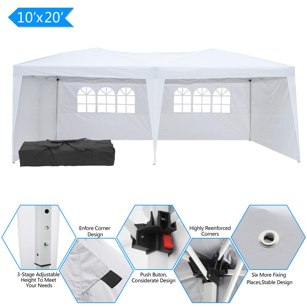 10x20FT Открытый пикник навес палатка 3x6m кемпинг водонепроницаемый свадьба беседка с 4 сторонами 2 Windows Складная патио Солнце укрытие Sun Caurter Marquee