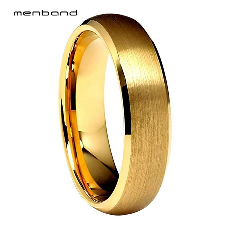 Finitura oro giallo tungsteno fascia di cerimonia nuziale per le donne con smussato spazzolato 6MM anello Box Disponibile
