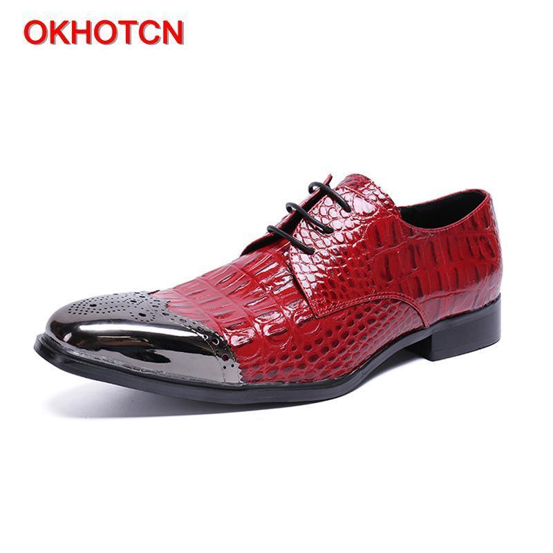 OKHOTCN Мода нового приход черного красного крокодил зерно мужчина формальная обувь бизнес партия свадебного платье обувь натуральная кожа