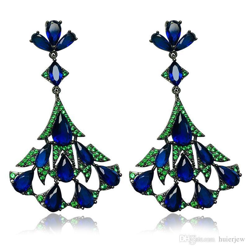 Women Luxury Earrings Crystal Stone Design Big Drop Earrings