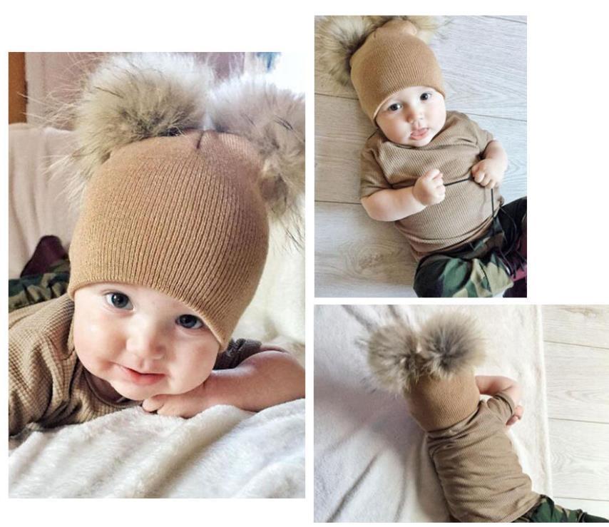 Kinder Hüte Kleinkind Kinder Baby Warme Winter Wollhut Strick Beanie Pelz Pom Pom Hut Baby Jungen Mädchen Mütze 1-3Y Drop Shipping