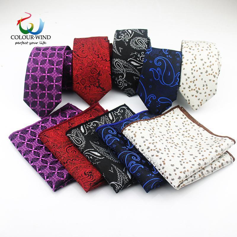 ربطات الرقبة الرجال البوليستر ربطة العنق مجموعة 2 قطع ضيقة التعادل 6 سنتيمتر جودة عالية جيب ساحة ضئيلة نحيل مناديل البدلة cravat