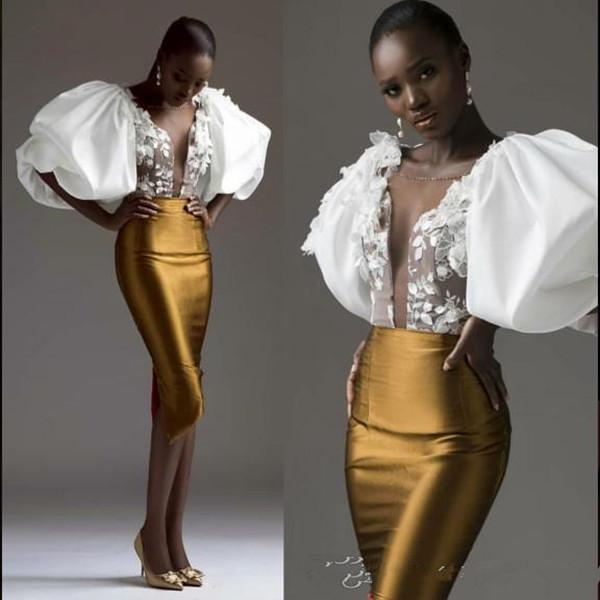 Esagerato Sheer manica Oro guaina abito da sera sudafricano collo Appliques Prom Dresses donna pro Cocktail Party Gowns